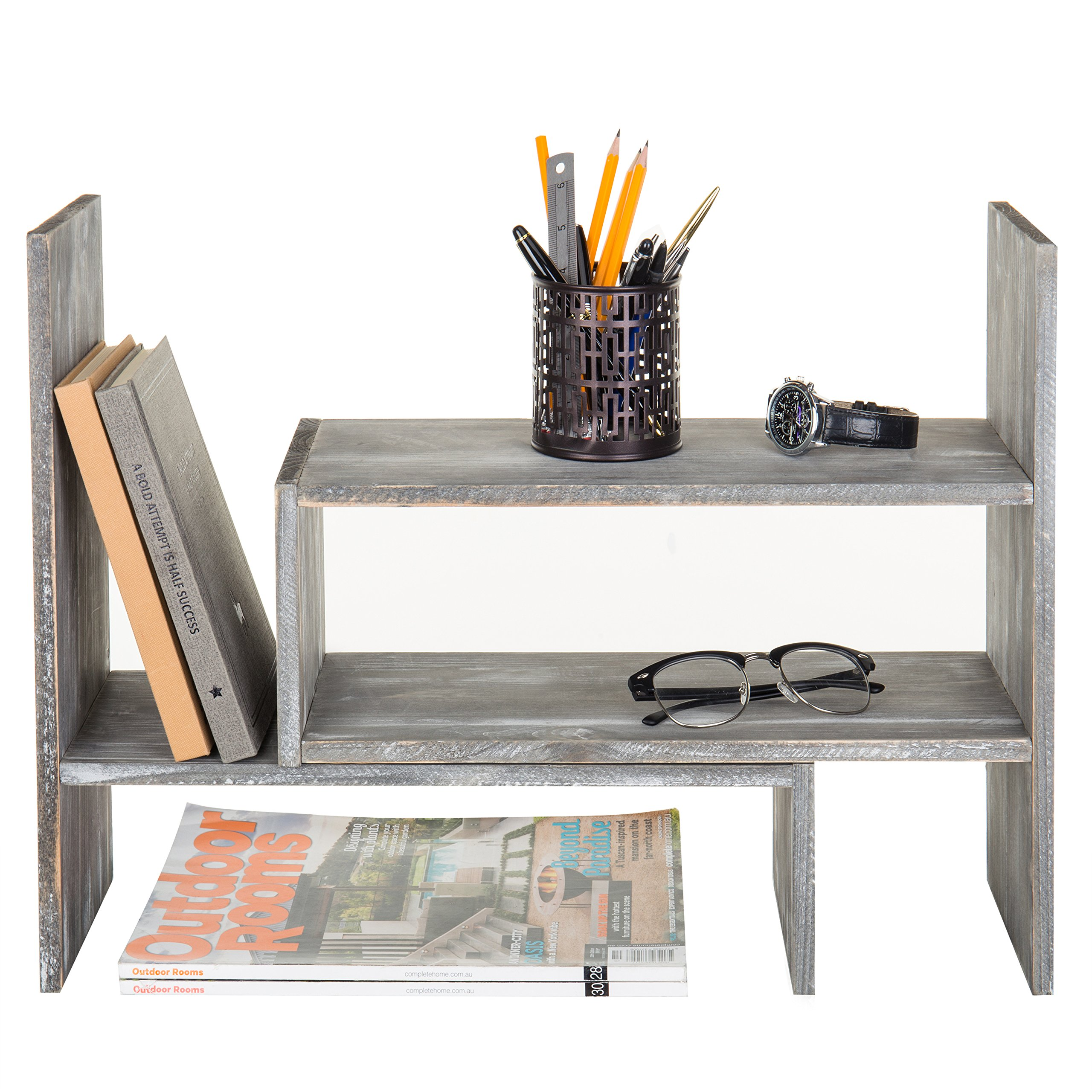 Distressed Gray Wood Adjustable Desktop Bookshelves, Countertop Display Shelves by MyGift