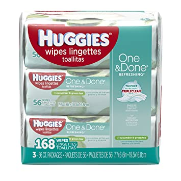 Huggies One & Done Baby Wipes, Cucumber & Green Tea (168 ...