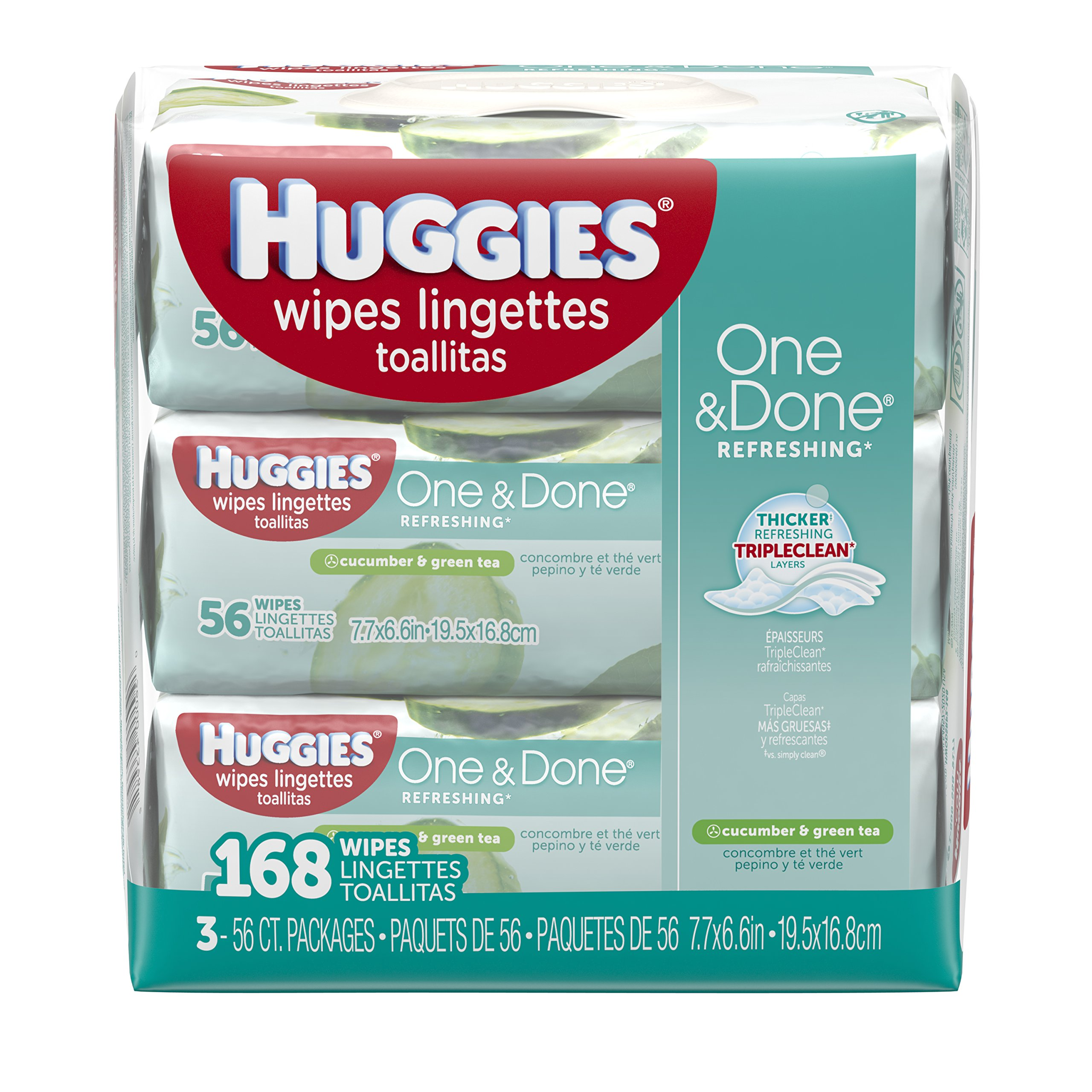 Huggies One & Done Baby Wipes, Cucumber & Green Tea (168 count) by Huggies One (Image #1)