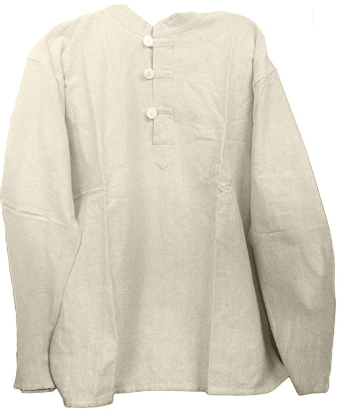 1960s Mens Shirts | 60s Mod Shirts, Hippie Shirts Mens Tunic Muslin Cotton Cream Colored 3-button Loop Closure Mandarin Collar $22.99 AT vintagedancer.com