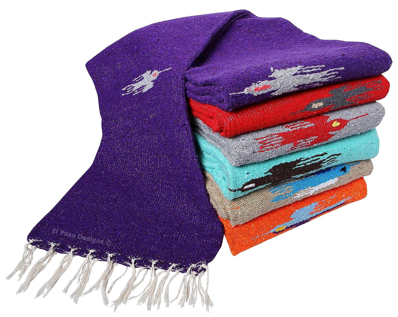 El Paso DesignsプレミアムMexicanサンダーバードYoga Studio Blanket ( 78「x54」- Featuring Handwovenサンダーバード模様− Ideal for Restorativeヨガ、瞑想、Savasana、ピクニック、スローand More  バーガンディー B01MUHNSK3