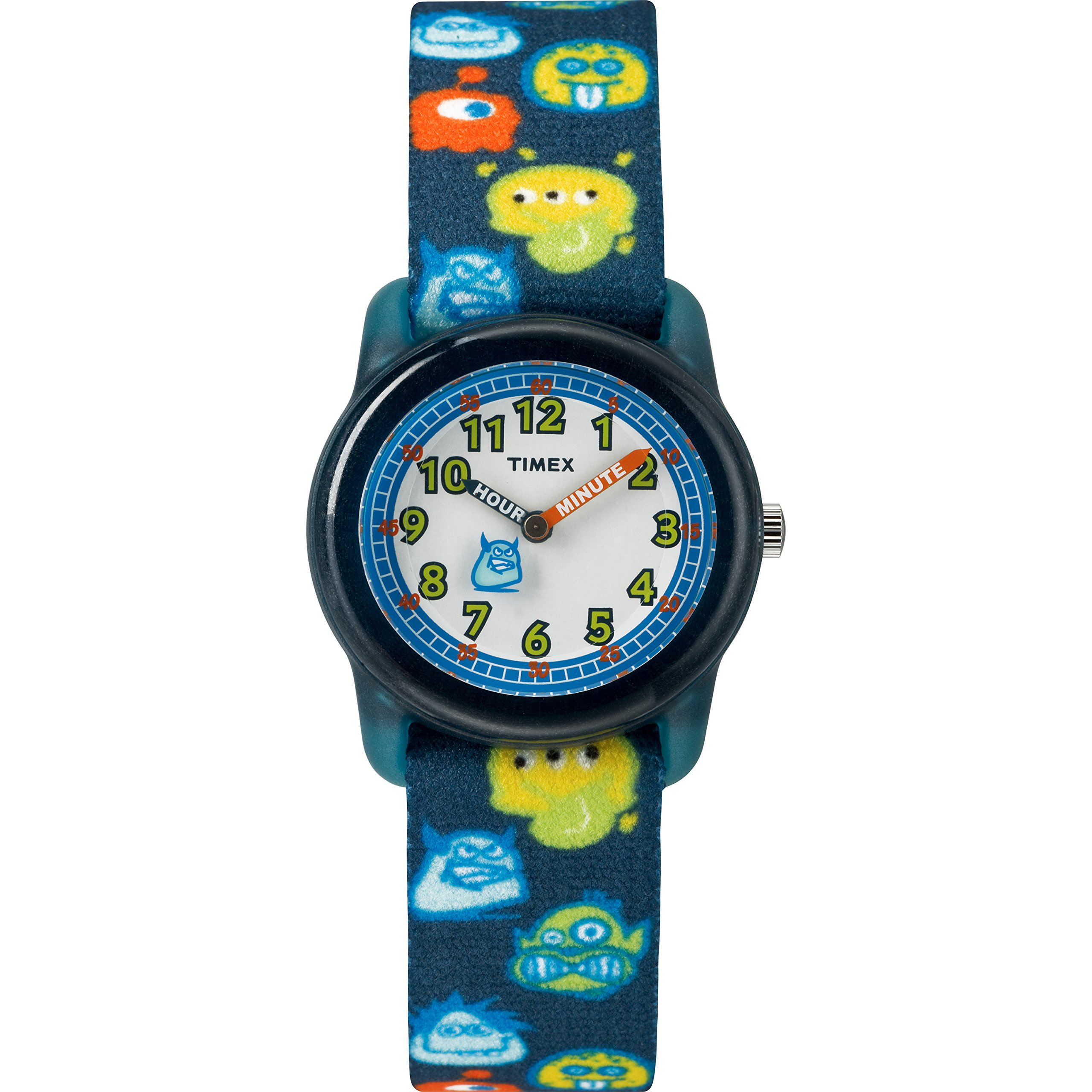 Timex Boys TW7C25800 Time Machines Black/Monsters Elastic Fabric Strap Watch