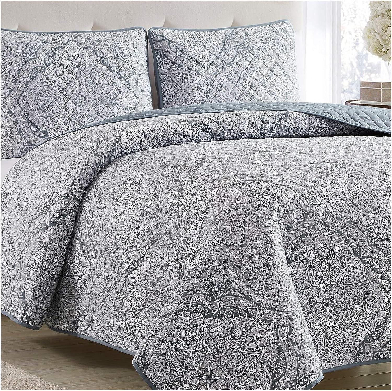 Mellanni Bedspread Coverlet Set Medallion-Zen - Comforter Bedding Cover - Oversized 3-Piece Quilt Set (Full/Queen, Medallion Zen)