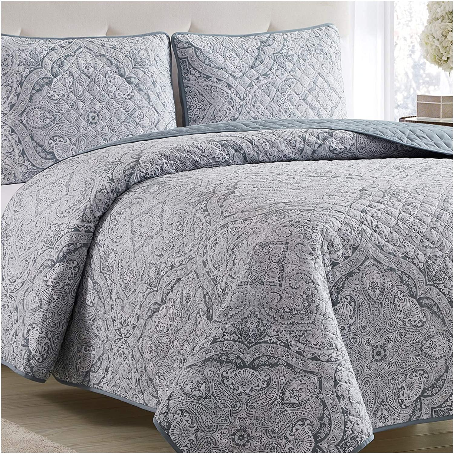 Mellanni Bedspread Coverlet Set Medallion-Zen - Comforter Bedding Cover - Oversized 3-Piece Quilt Set (King/Cal King, Medallion Zen)