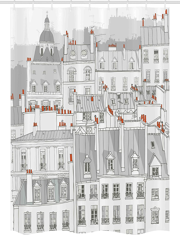 "Ambesonne Paris Stall Shower Curtain, Aerial View Illustration of Roofs Attics of Paris City European Buildings, Fabric Bathroom Decor Set with Hooks, 54"" X 78"", Grey Orange"