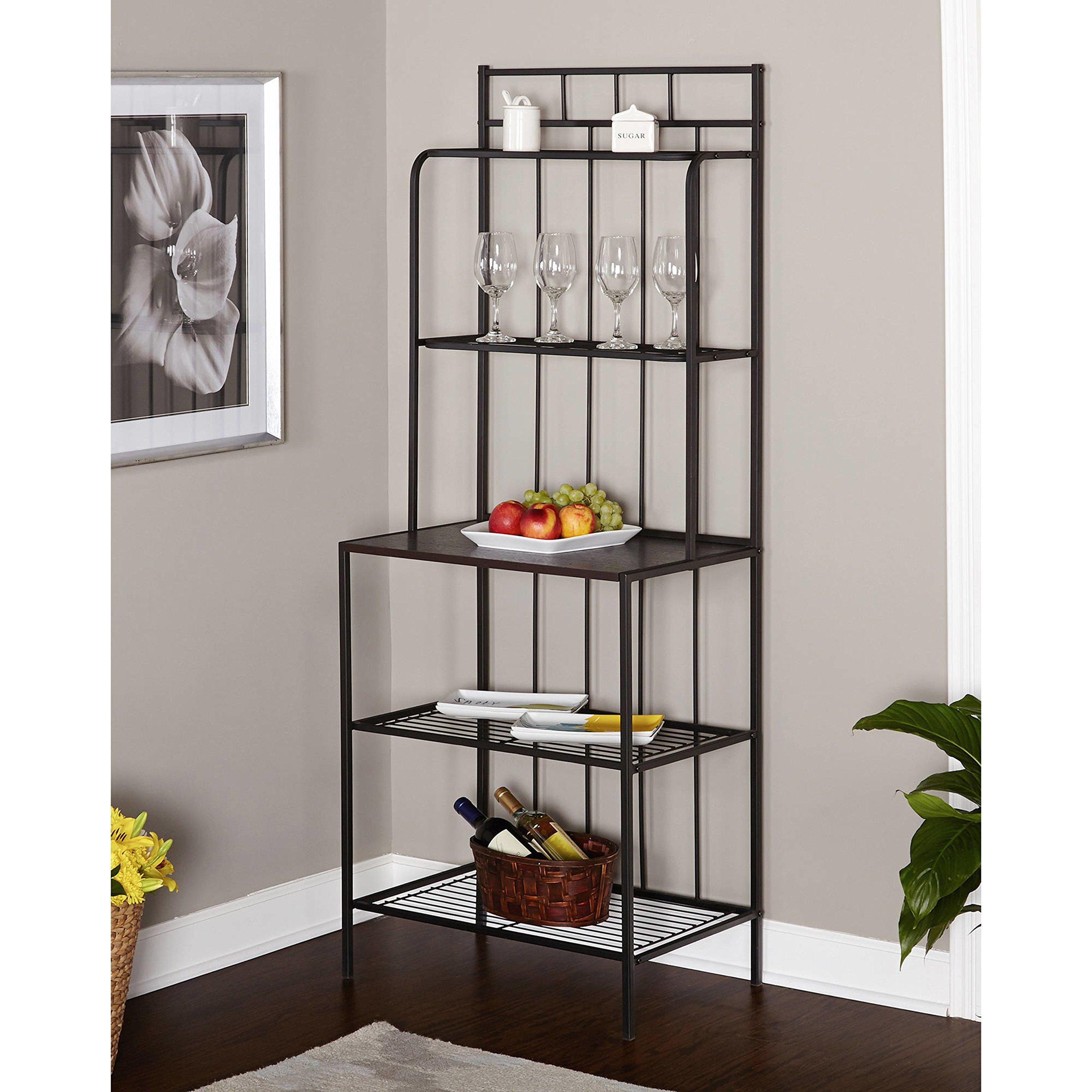 Black Frame With Grey Shelves Kitchen Baker's Rack