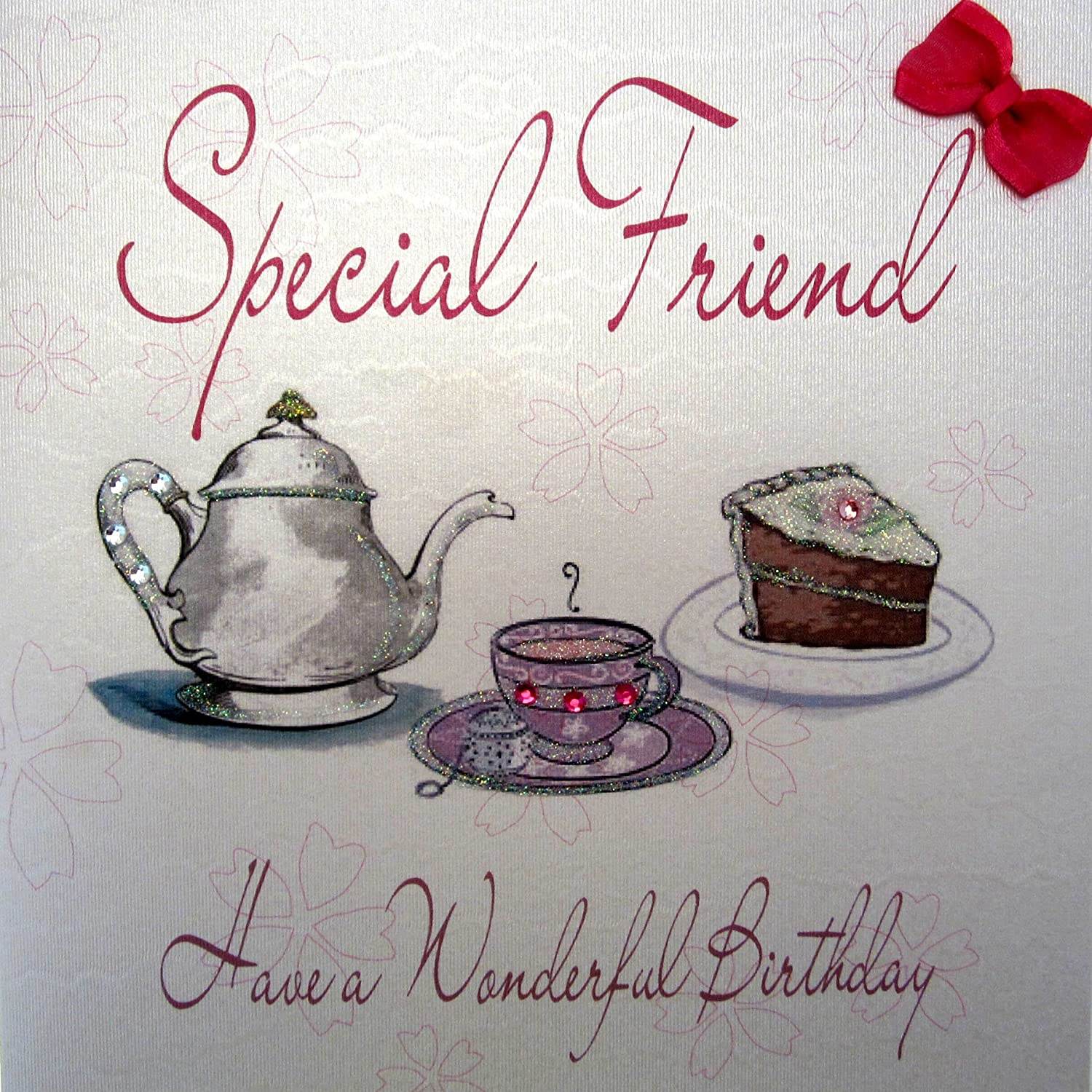 White Cotton Cards Handmade Birthday Card for Special Friend Tea