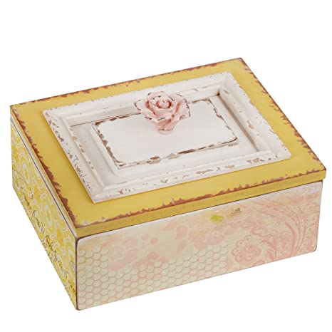 Nikky Home Antique Wooden Case Keepsake Storage Box With Lid And Floral Handle 984 X 787 X 551 Inches Pale Pink And Yellow