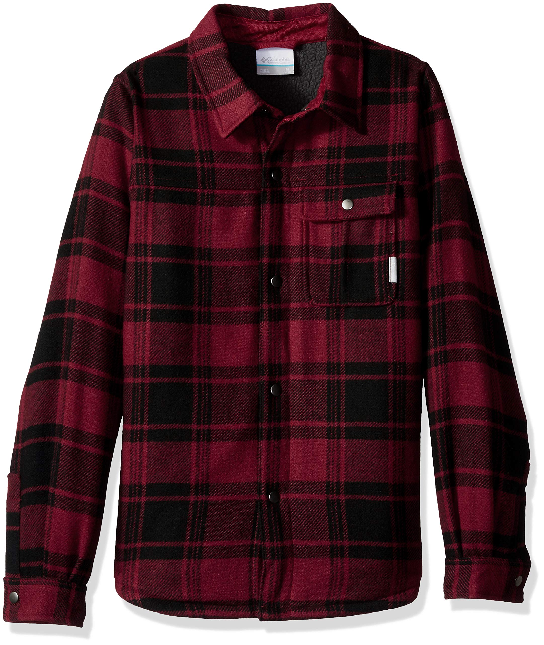 Columbia Boys' Little Windward Sherpa-LinedShirt Jacket, Red Element Plaid, XX-Small by Columbia