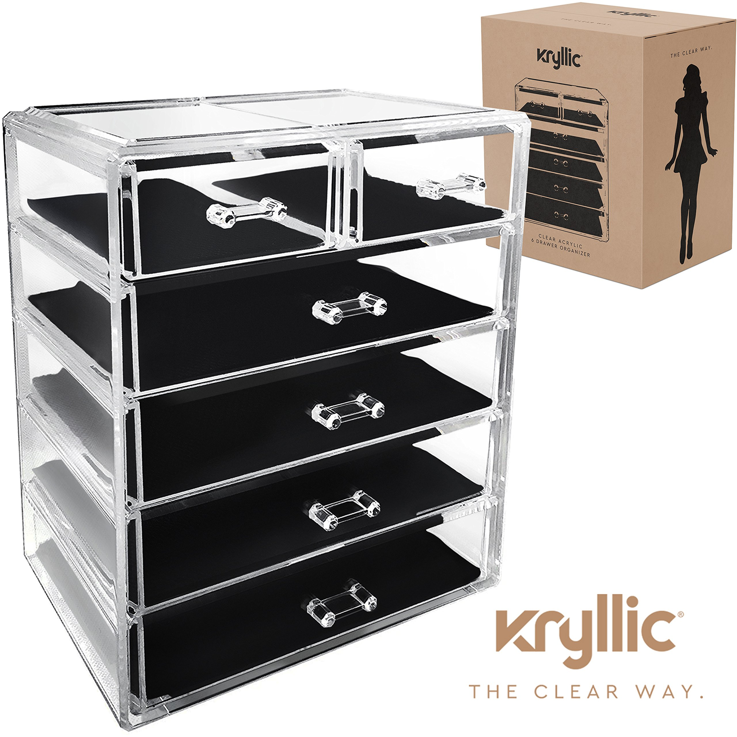Amazoncom Acrylic Cosmetic jewelry Makeup Organizer 4 drawers