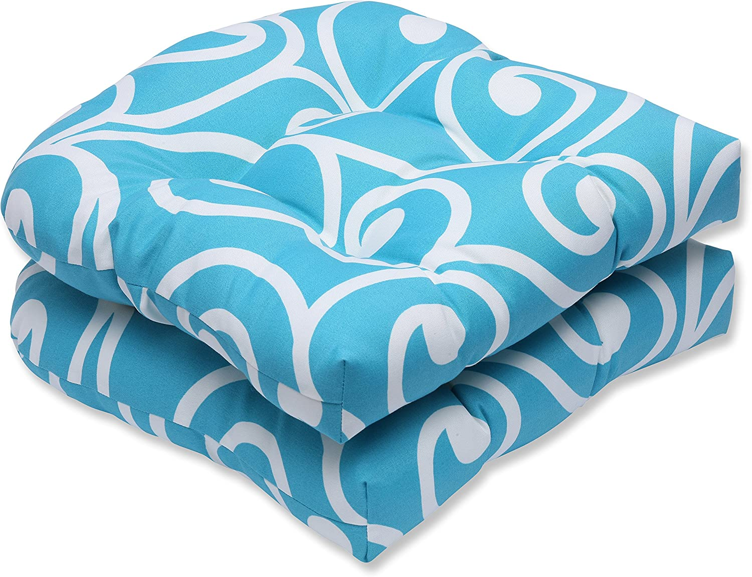 Pillow Perfect Outdoor Best Wicker Seat Cushion, Turquoise, Set of 2