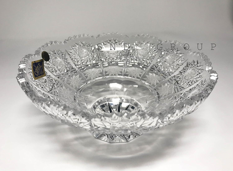 "Czech Bohemian Crystal Glass Bowl 6""-Dia Hand Cut Crystal Glass Decorative Wedding Gift Vintage European Design Elegant Centerpiece Dish Fruits Candies Desserts Classic Crystal Glass"