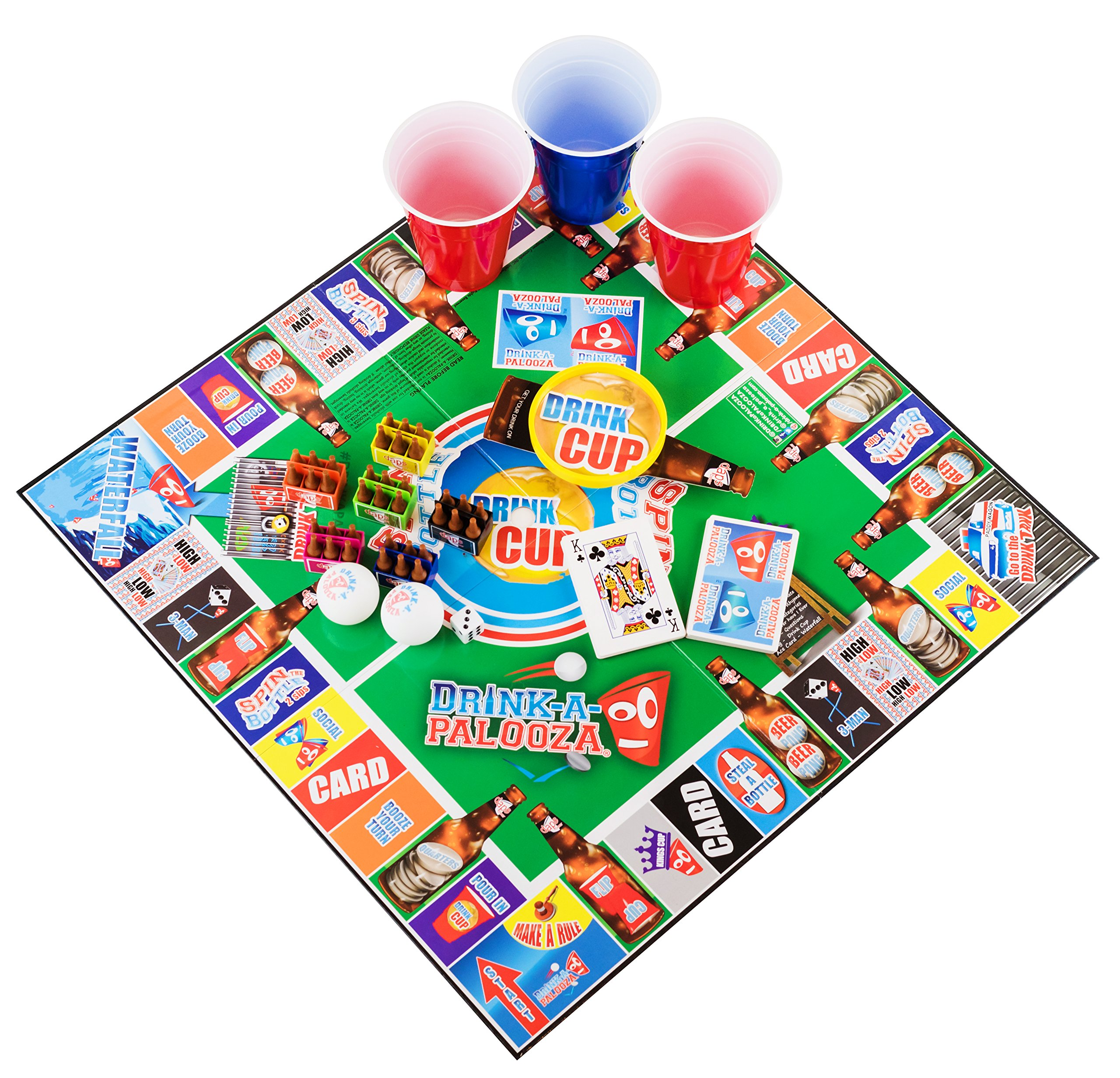 Drink A Palooza: DRINK-A-PALOOZA Board Game: Combines Old-School + New