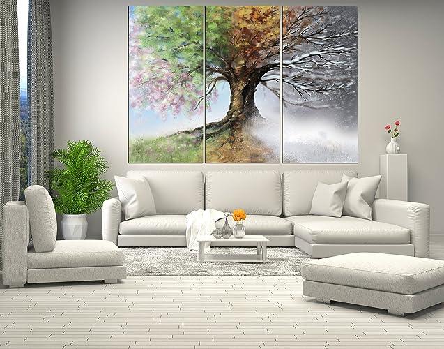 amazon com four season tree forest wall art canvas tree canvas
