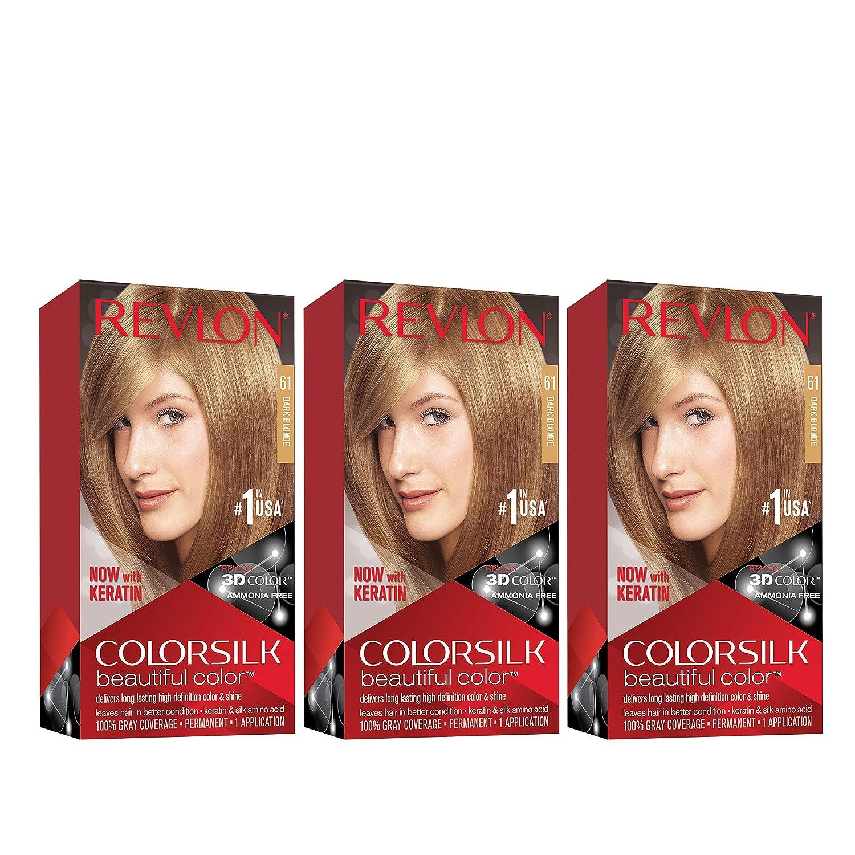 Revlon Colorsilk Beautiful Color, Permanent Hair Dye with Keratin, 100% Gray Coverage, Ammonia Free, 61 Dark Blonde (Pack of 3)