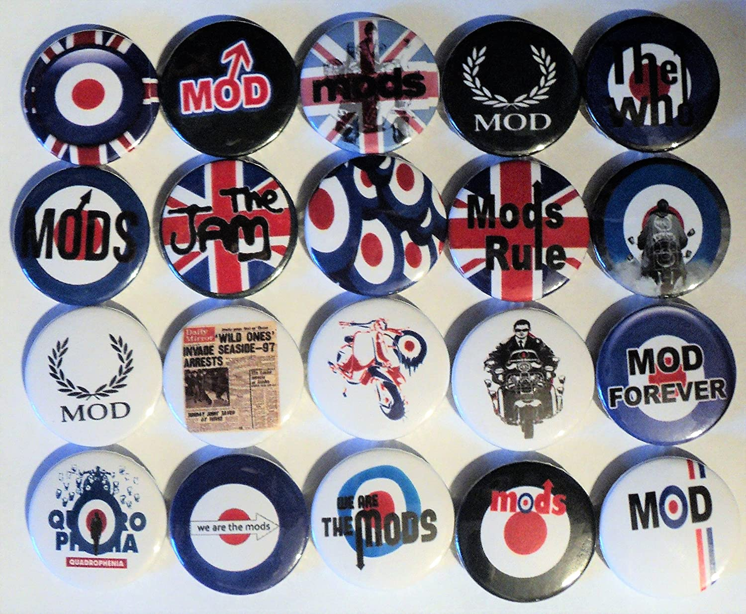 MOD 20MM TARGET A WAY OF LIFE SCOOTER MOD BADGE QUADROPHENIA