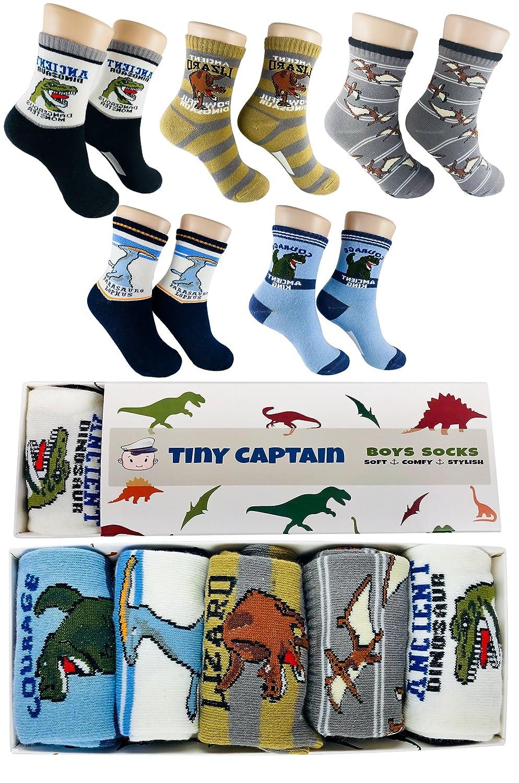 Boys Socks Dinosaur Best Gift For 4-7 Year Old Boy Cotton Child Crew Sock From Tiny Captain