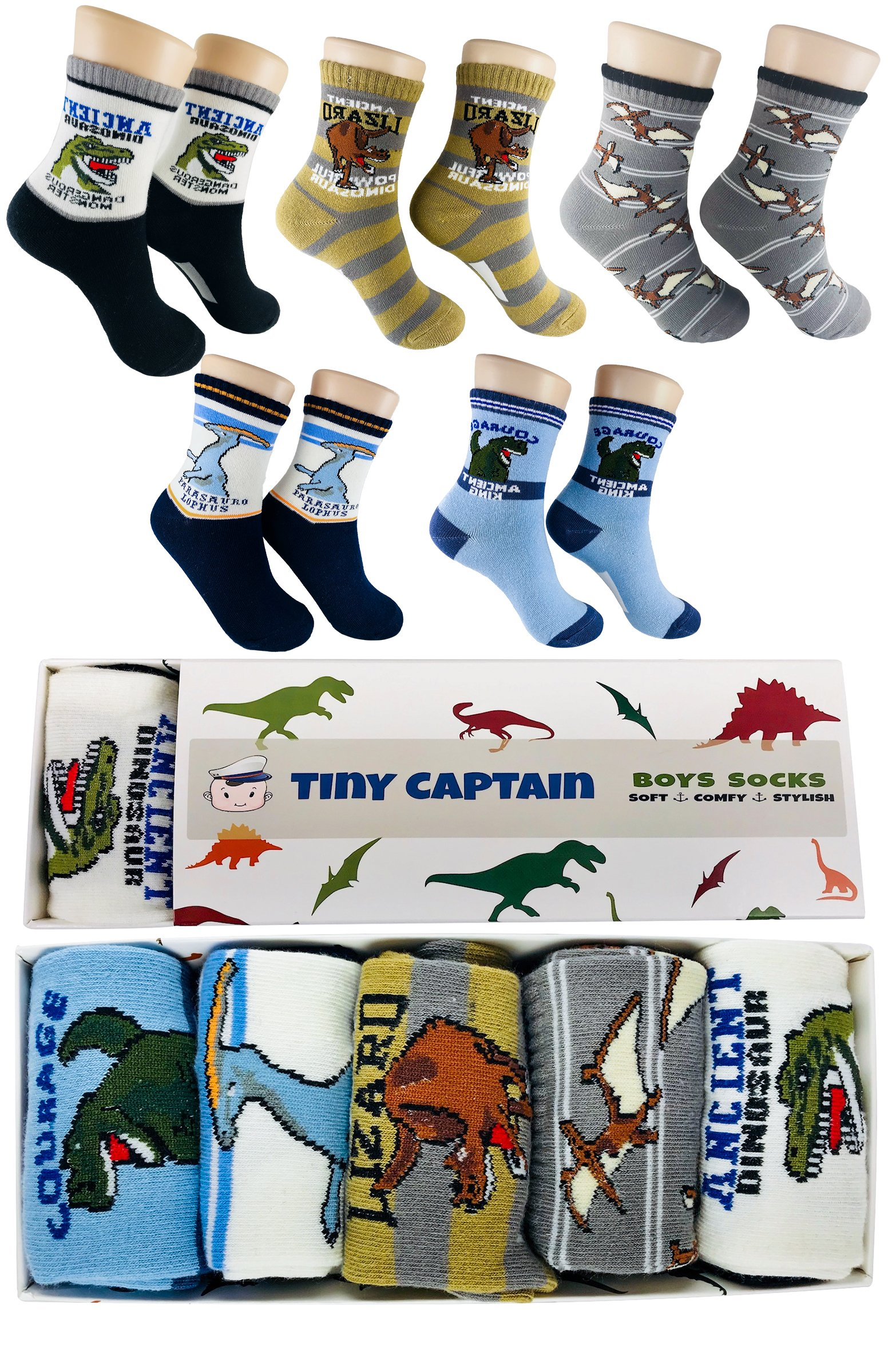Tiny Captain Boy Dinosaur Socks 4-7 Year Old Boys Crew Cotton Sock Perfect Age 5 Gift Set (Medium, Blue and Grey)