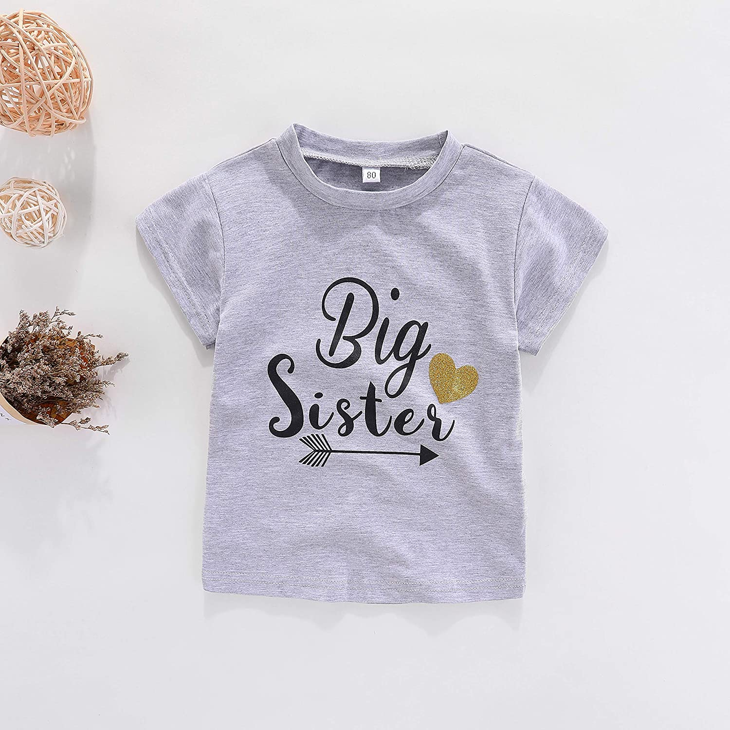 775b097b6d45d Amazon.com: WINZIK Little Baby Girls Kids Toddlers Outfits Big Sister Print  T-Shirt Pullover Tee Tops Clothes Costume Gift: Clothing
