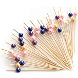 """PuTwo Cocktail Picks Handmade Bamboo Appetizer Toothpicks 300 Counts 4.7"""" Assorted Color Pearls"""