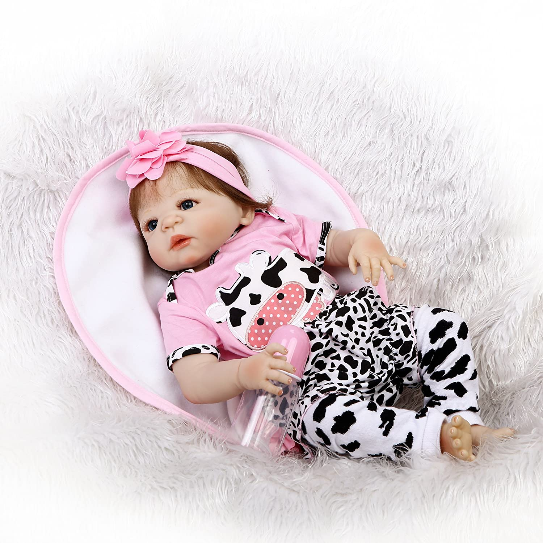 icradle 23インチ57 cmフルシリコンシリコンビニールハンドメイドRealリアルなラブリーキュートガールRebornベビー人形Lifelike子おもちゃNewborn Doll解剖学的に正しい人気cfrafted Xmasギフト   B07BF3Y5FS