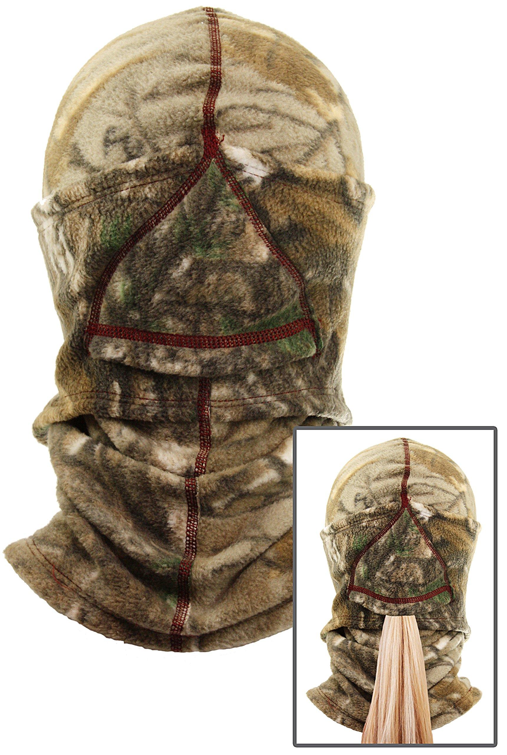 Equipment De Sport USA Ladies Camo Realtree Fleece Ninja Balaclava Face Mask with Ponytail Opening