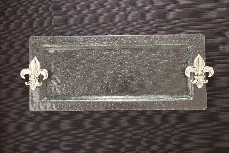 Thirstystone Rectangular Glass Tray, Fleur De Lis NG002