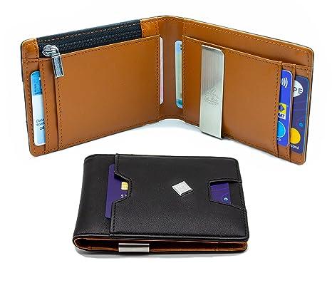 0069715997 Portafoglio Uomo Piccolo Sottile - Portafoglio Uomo Con Portamonete - Porta  Carte di Credito e Fermasoldi