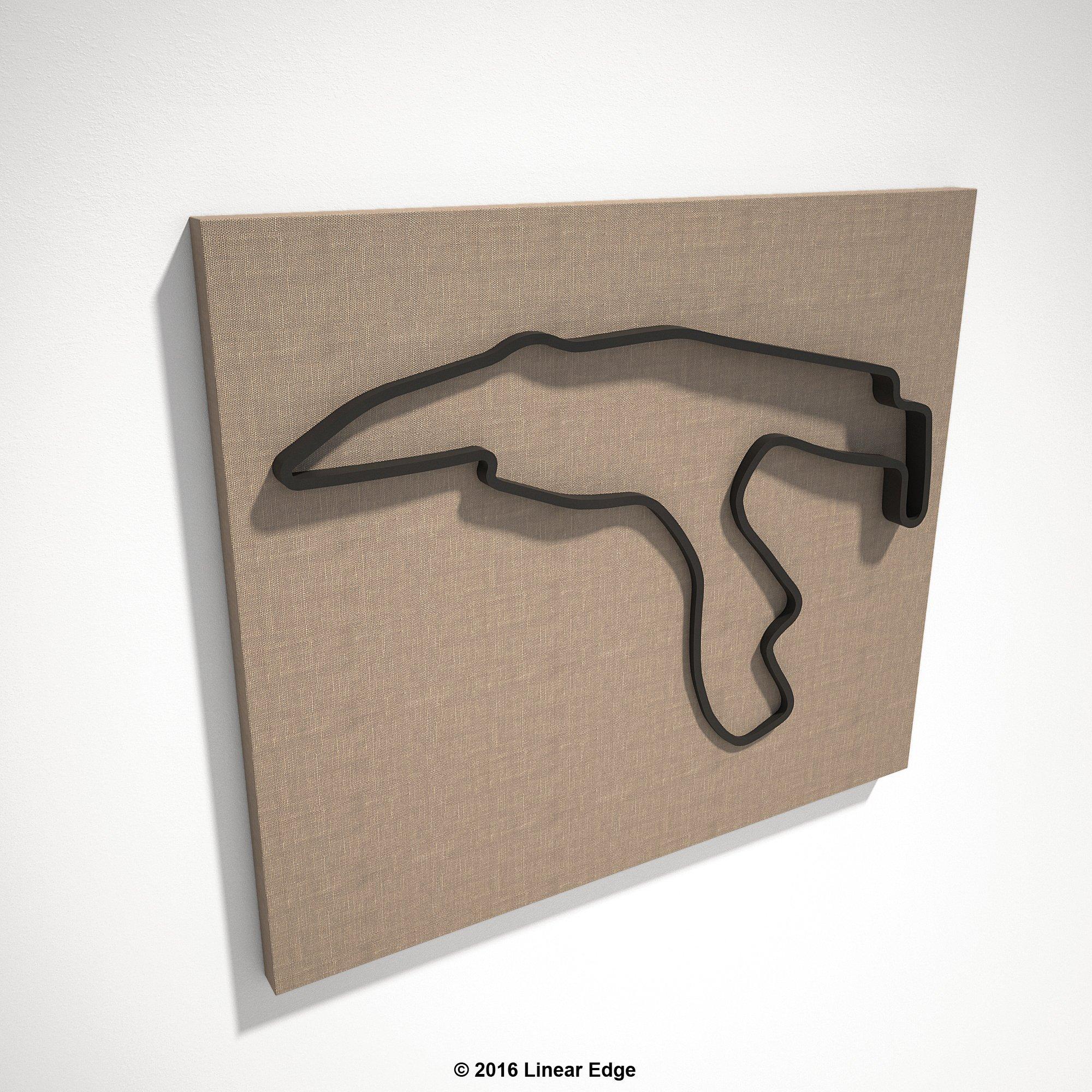 Spa-Francorchamps 3D Track Sculpture (Black Track - Linen Canvas)