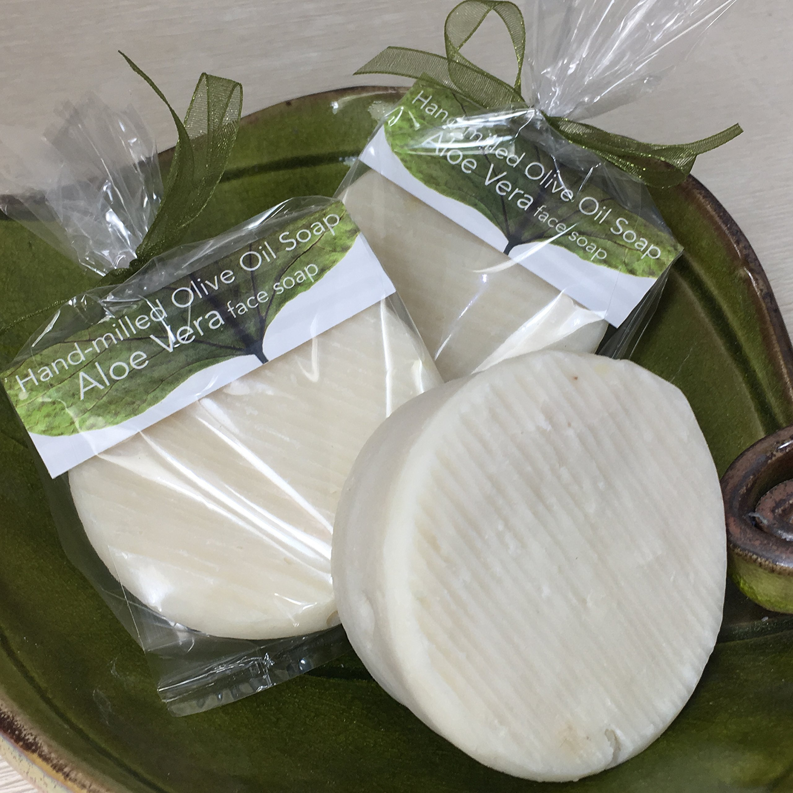 JANECKA Aloe Vera Round Soap / Artisan Crafted Gentle Soap / Unscented ( Set of 3 )