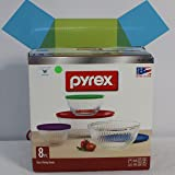 Pyrex 8 Piece Ribbed Bowl (4) Set Including Assorted Colored Locking Lids (Ribbed)