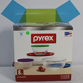 Pyrex 8 Piece Ribbed Bowl (4) Set Including Assorted Colored Locking Lids  (Ribbed
