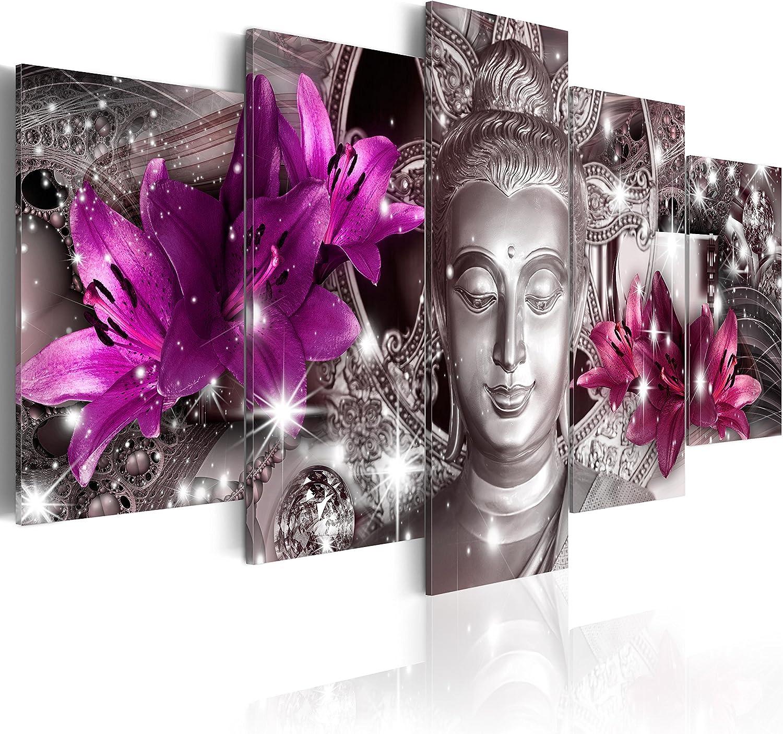 murando - Cuadro en Lienzo Buda Zen SPA 200x100 cm Impresión de 5 Piezas Material Tejido no Tejido Impresión Artística Imagen Gráfica Decoracion de Pared Flores Naturaleza h-C-0029-b-o