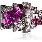 murando – Impression sur toile – 200x100 cm cm – 5 pieces - Image sur toile – Images – Photo – Tableau - motif moderne - Décoration - tendu sur chassis - Bouddha fleurs Diamant h-C-0029-b-o