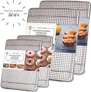 Stainless Steel Wire Cooling Rack for Baking – 4 Pack – 2 for Half Sheet Pans and 2 for Quarter Sheet Pans – Oven-safe, Heavy Duty Commercial Quality
