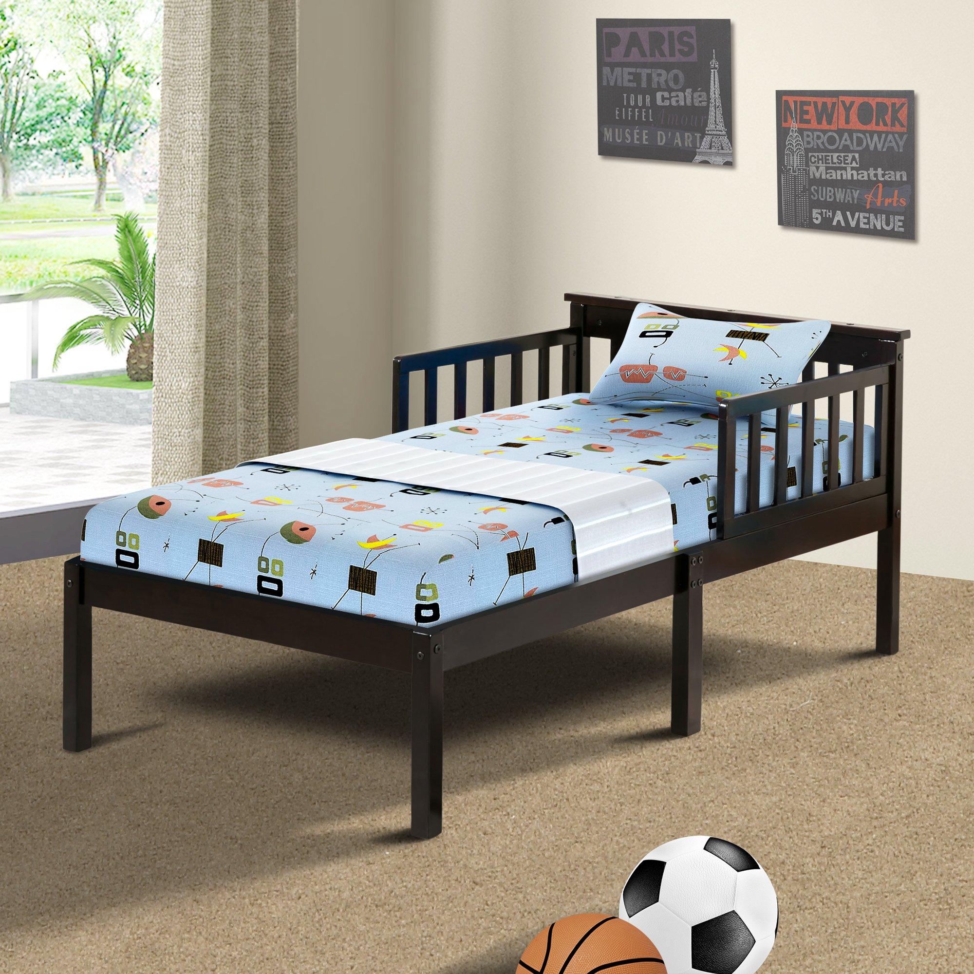 Harper&Bright Designs Solid Wood Toddler Bed (Espresso)
