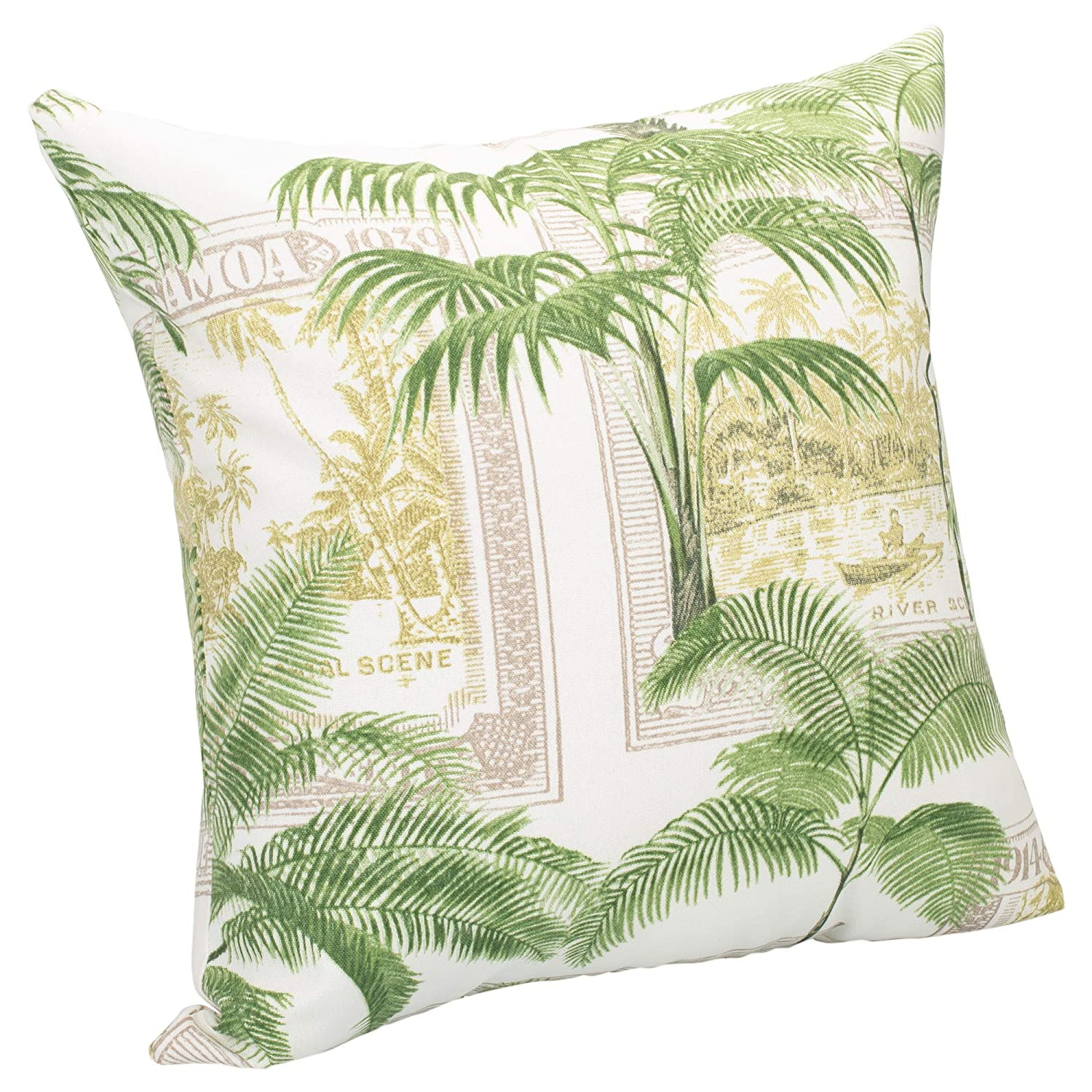 Jungle Green Palm Tree Foliage Pattern 16 x 16 Indoor Outdoor Throw Pillows; Pack of 2