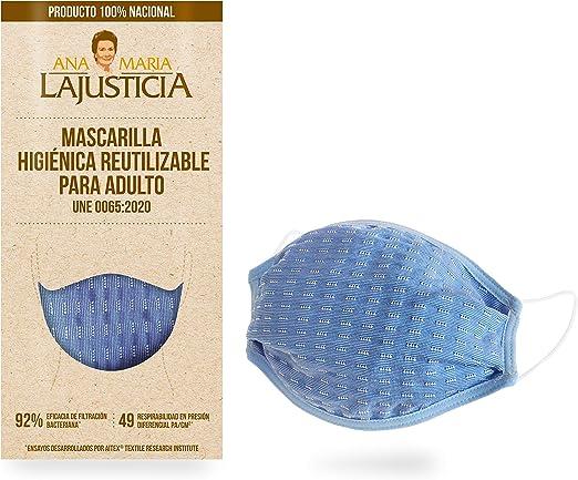 Mascarilla higiénica reutilizable hasta 5 lavados. Producto 100% nacional homologado. Cubre nariz, boca y barbilla.: Amazon.es: Salud y cuidado personal