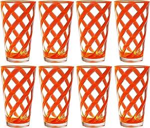 QG 8 pc 22 oz Twist Neon Orange Acrylic Ice Tea Cup with Clear Heavy Base Plastic Tumbler Set