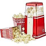 Andrew James Retro Machine à Popcorn à Air Chaud Pour les Popcorn sans Graisse et sans Huile avec 4 Boîtes de Popcorn