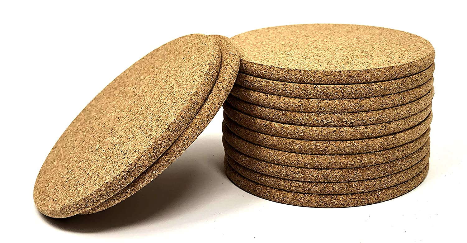 Cork Coasters - Round Blank Cork Drink Coasters 4 Inches with Rounded Edges - 1/4 Inch Thick - Pack of 12 - Coasters For Drinks, DIY Crafts, Plants, Party and Wedding Favors