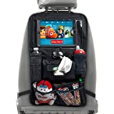Car Seat Organizer for Kids, Babies and Toddlers by BABYSEATER iPad Tablet Touch Screen Holder, Wet Wipes Tissue Pocket Stretchy Mesh Storage-Kick Mat Car Backseat Protector
