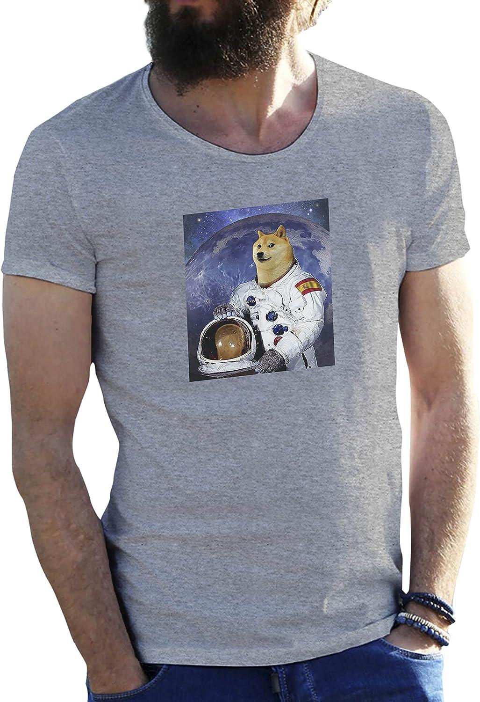 KoalaCovers Doge Astronaut NASA Espana Spain Gris Camiseta para Hombre Small: Amazon.es: Ropa y accesorios