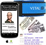 Vital ID Medical Identity Bracelet. Adult & Child Medical ID Wristband 100% Waterproof. Tearproof Insert Card. Store Emergency Contacts, Medications, Next of Kin. Smartphone Compatibility Labels