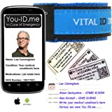 Medical Identity Bracelet. Adult & Child Medical ID Wristband by Vital ID. 100% Waterproof. Tearproof Insert Card. Store Emergency Contacts, Medications, Next of Kin. Smartphone Compatibility Labels
