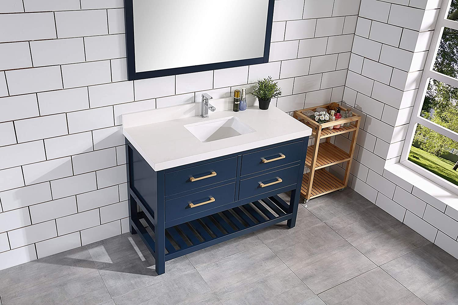 Willow Collections Santa Fe 84 in 84 x 22, Hale Navy Blue HARDWOOD CONSTRUCTION W x 22 in D Vanity in Hale Navy Blue with White Quartz and White Basins