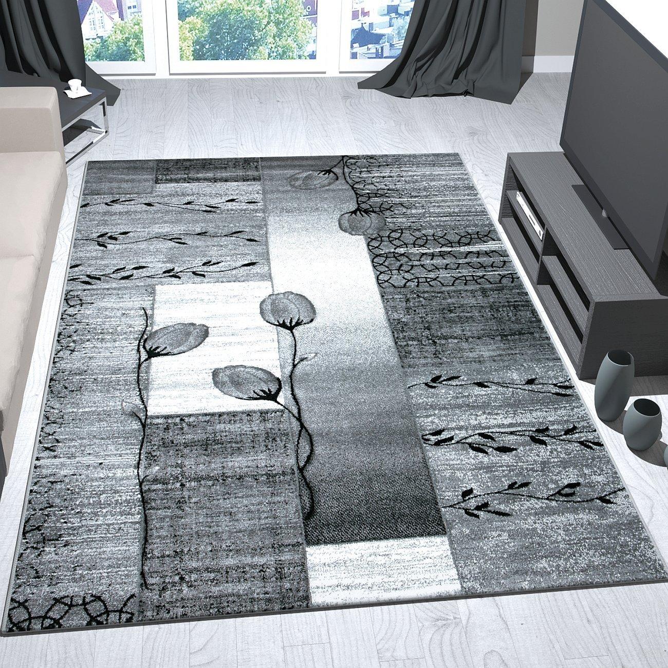 VIMODA Moderner Wohnzimmer Teppich Grau, Schwarz, Creme mit Blumen und Pflanzen Muster, Maße 200x290 cm