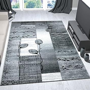 Moderner Wohnzimmer Teppich Grau Schwarz Creme mit Blumen Pflanzen ...