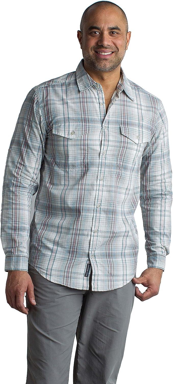 Image of ExOfficio Men's BugsAway Sol Cool Plaid Lightweight Long-Sleeve Shirt, X-Large, Corsair