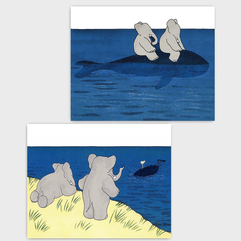Amazon.com: (Set of 2) Babar the Elephant Prints (Baby Nautical ...